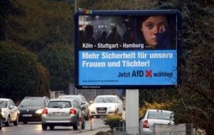 An election poster of the right-wing Alternative for Germany (AfD) party for the upcoming Rhineland-Palatinate federal state elections is pictured in Neuwied near Koblenz, Germany, March 1, 2016. REUTERS/Wolfgang Rattay